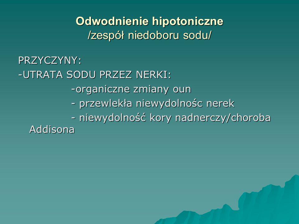 Odwodnienie hipotoniczne /zespół niedoboru sodu/ PRZYCZYNY: -UTRATA SODU PRZEZ NERKI: -organiczne zmiany oun -organiczne zmiany oun - przewlekła niewy