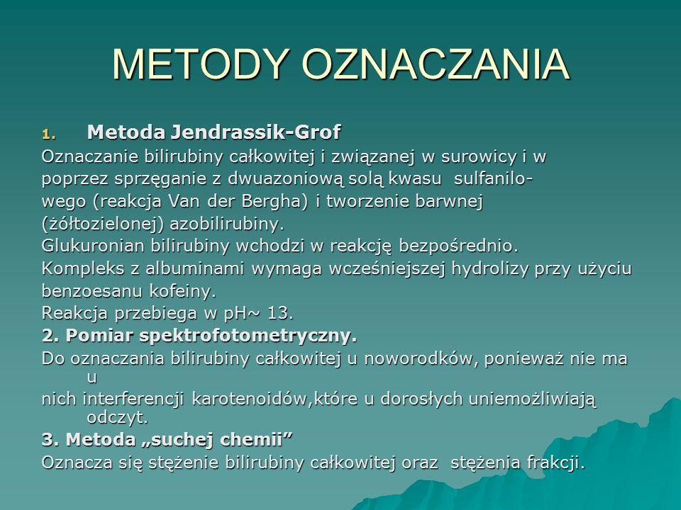 METODY OZNACZANIA 1. Metoda Jendrassik-Grof Oznaczanie bilirubiny całkowitej i związanej w surowicy i w poprzez sprzęganie z dwuazoniową solą kwasu su