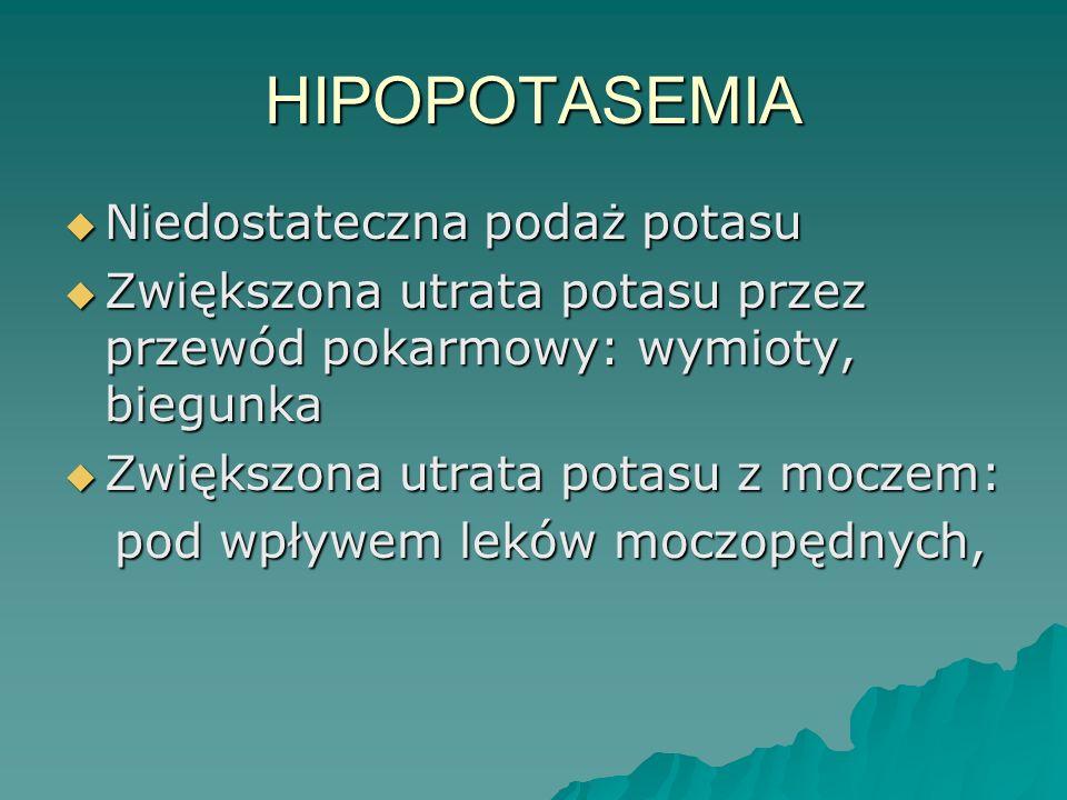 HIPOPOTASEMIA  Niedostateczna podaż potasu  Zwiększona utrata potasu przez przewód pokarmowy: wymioty, biegunka  Zwiększona utrata potasu z moczem: