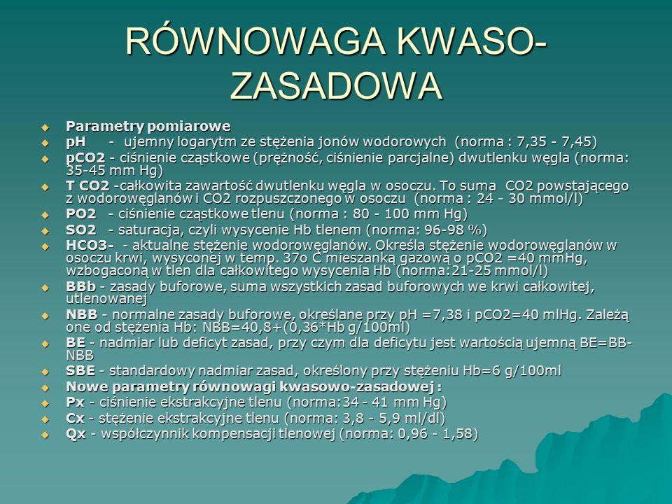 RÓWNOWAGA KWASO- ZASADOWA  Parametry pomiarowe  pH - ujemny logarytm ze stężenia jonów wodorowych (norma : 7,35 - 7,45)  pCO2 - ciśnienie cząstkowe