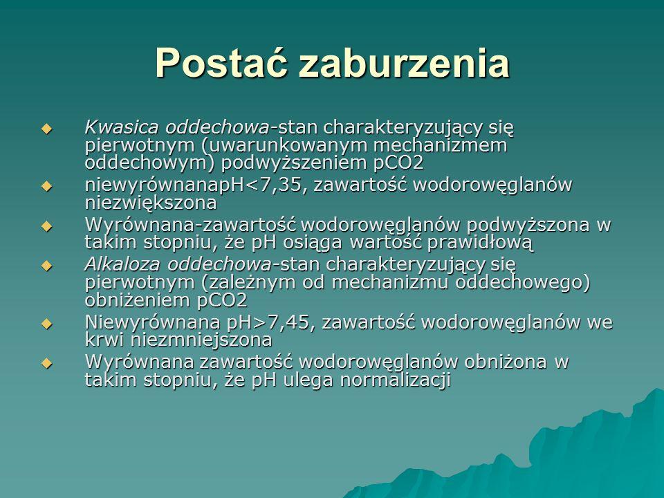 Postać zaburzenia  Kwasica oddechowa-stan charakteryzujący się pierwotnym (uwarunkowanym mechanizmem oddechowym) podwyższeniem pCO2  niewyrównanapH<