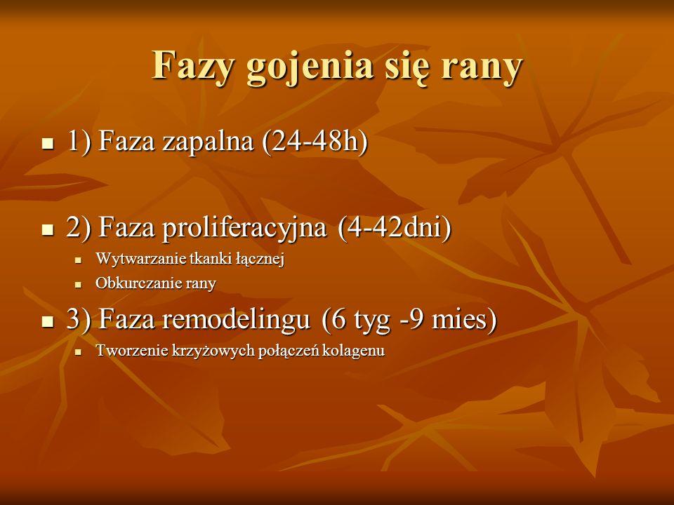 Fazy gojenia się rany 1) Faza zapalna (24-48h) 1) Faza zapalna (24-48h) 2) Faza proliferacyjna (4-42dni) 2) Faza proliferacyjna (4-42dni) Wytwarzanie