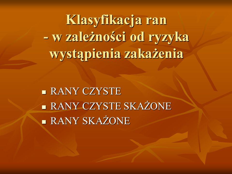 Klasyfikacja ran - w zależności od ryzyka wystąpienia zakażenia RANY CZYSTE RANY CZYSTE RANY CZYSTE SKAŻONE RANY CZYSTE SKAŻONE RANY SKAŻONE RANY SKAŻ