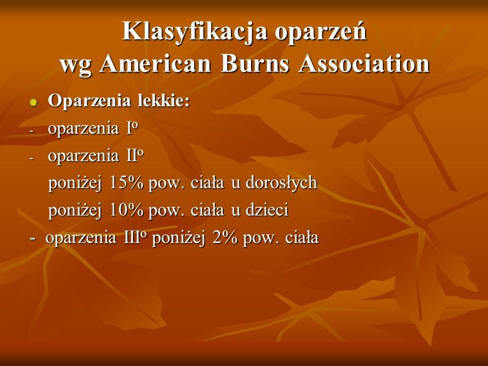 Klasyfikacja oparzeń wg American Burns Association Oparzenia lekkie: - oparzenia I o - oparzenia II o poniżej 15% pow. ciała u dorosłych poniżej 15% p