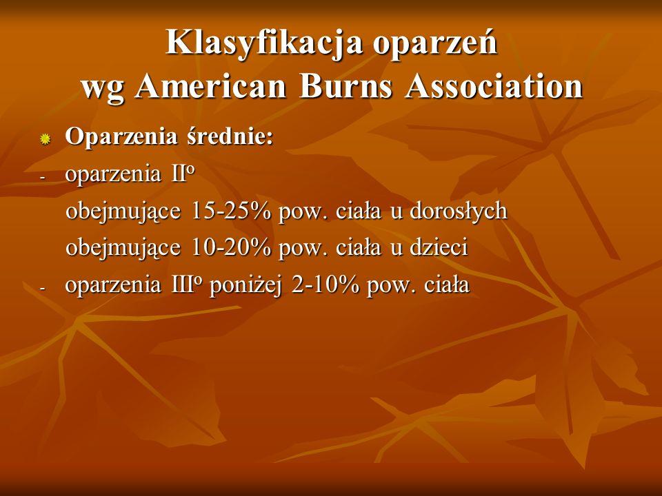 Klasyfikacja oparzeń wg American Burns Association Oparzenia średnie: - oparzenia II o obejmujące 15-25% pow. ciała u dorosłych obejmujące 15-25% pow.