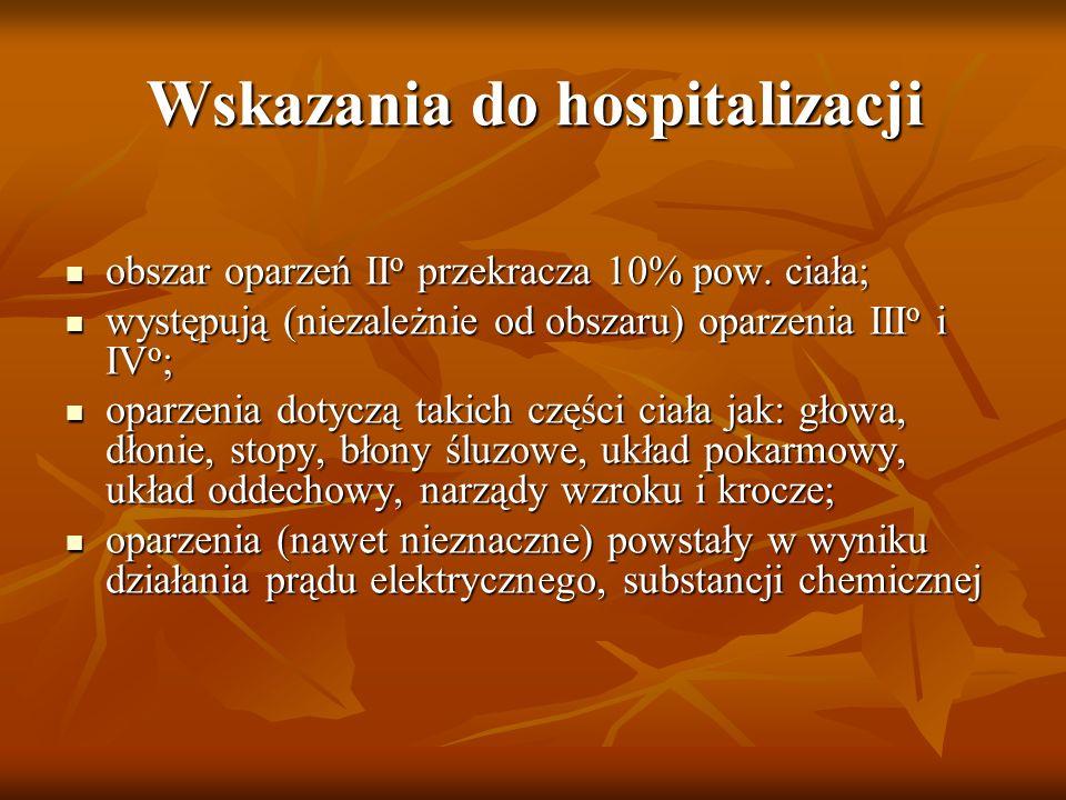 Wskazania do hospitalizacji obszar oparzeń II o przekracza 10% pow. ciała; obszar oparzeń II o przekracza 10% pow. ciała; występują (niezależnie od ob