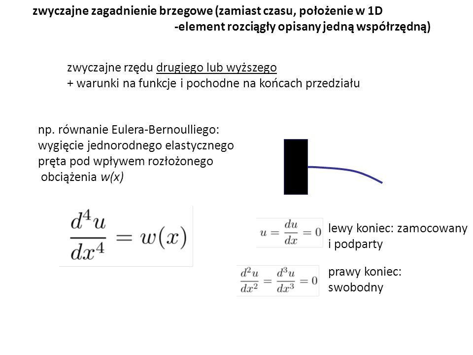zwyczajne zagadnienie brzegowe (zamiast czasu, położenie w 1D -element rozciągły opisany jedną współrzędną) np. równanie Eulera-Bernoulliego: wygięcie