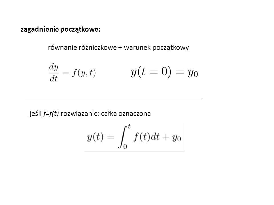 zagadnienie początkowe: równanie różniczkowe + warunek początkowy jeśli f=f(t) rozwiązanie: całka oznaczona