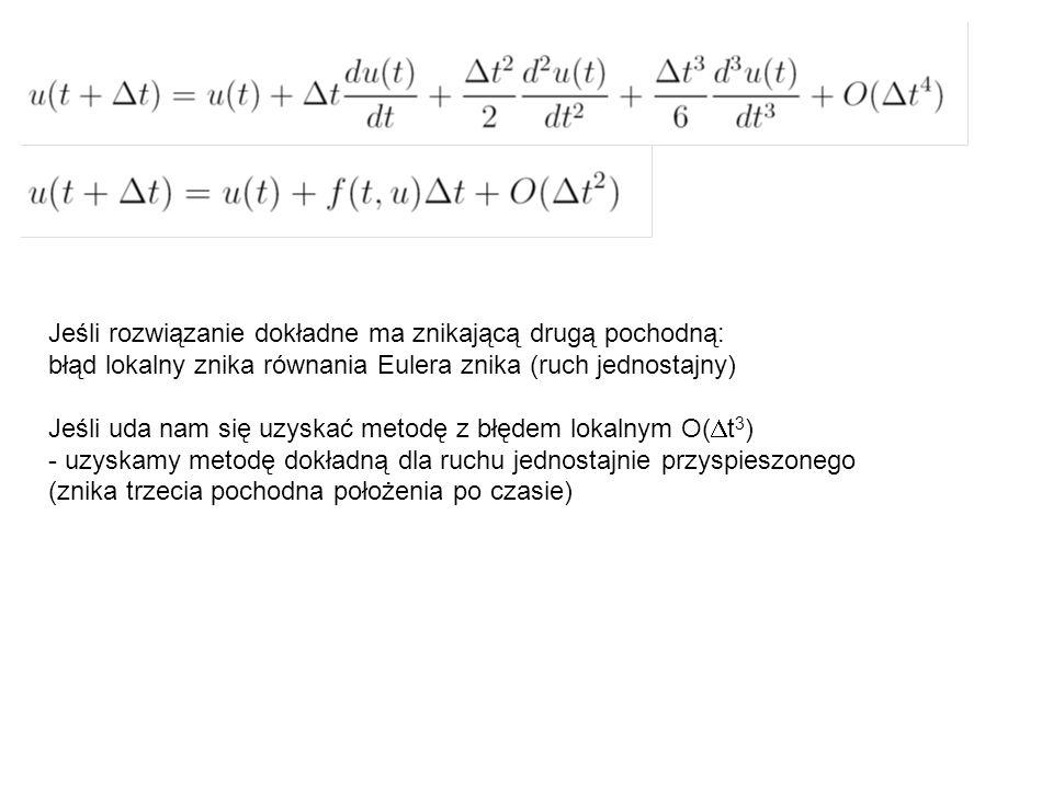Jeśli rozwiązanie dokładne ma znikającą drugą pochodną: błąd lokalny znika równania Eulera znika (ruch jednostajny) Jeśli uda nam się uzyskać metodę z