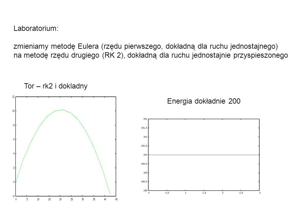 Laboratorium: zmieniamy metodę Eulera (rzędu pierwszego, dokładną dla ruchu jednostajnego) na metodę rzędu drugiego (RK 2), dokładną dla ruchu jednost