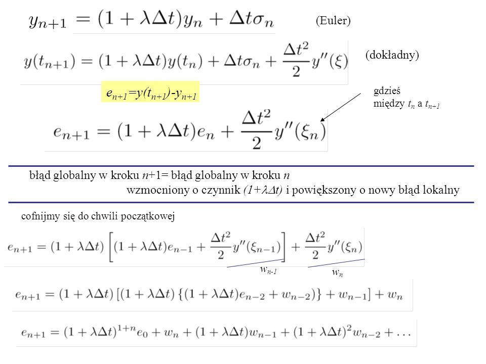 e n+1 =y(t n+1 )-y n+1 gdzieś między t n a t n+1 błąd globalny w kroku n+1= błąd globalny w kroku n wzmocniony o czynnik (1+  t) i powiększony o nowy