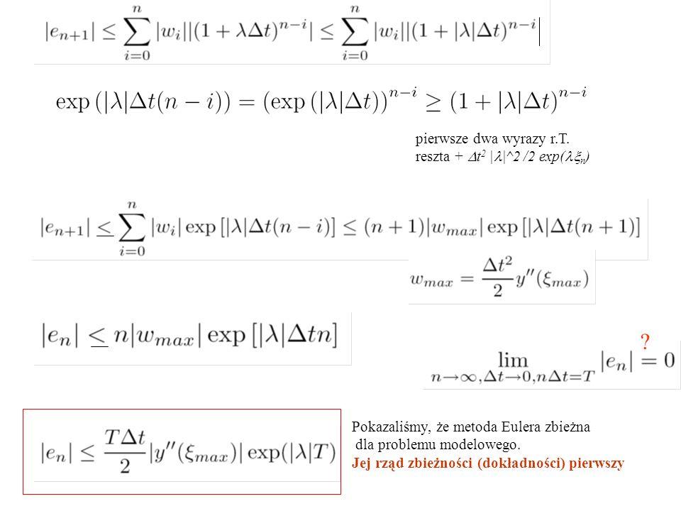 pierwsze dwa wyrazy r.T. reszta +  t 2 | |^2 /2 exp(  n ) ? Pokazaliśmy, że metoda Eulera zbieżna dla problemu modelowego. Jej rząd zbieżności (dokł