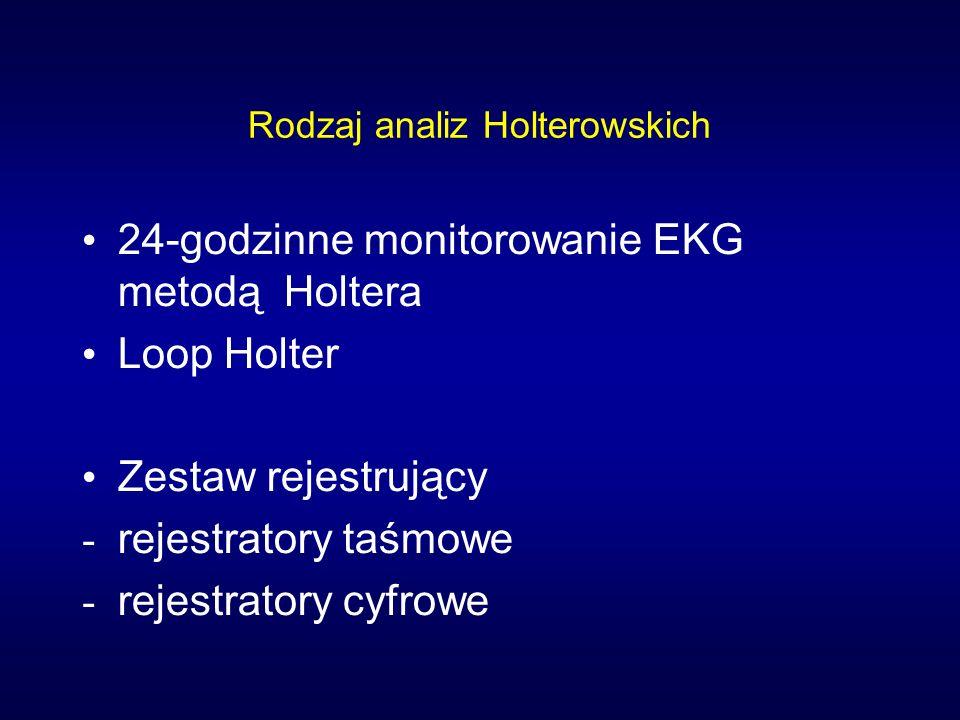 Rodzaj analiz Holterowskich 24-godzinne monitorowanie EKG metodą Holtera Loop Holter Zestaw rejestrujący - rejestratory taśmowe - rejestratory cyfrowe