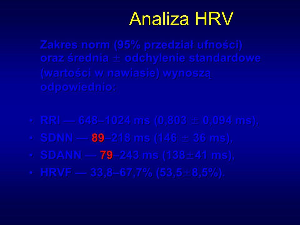 Analiza HRV Zakres norm (95% przedział ufności) oraz średnia ± odchylenie standardowe (wartości w nawiasie) wynoszą odpowiednio: RRI — 648–1024 ms (0,