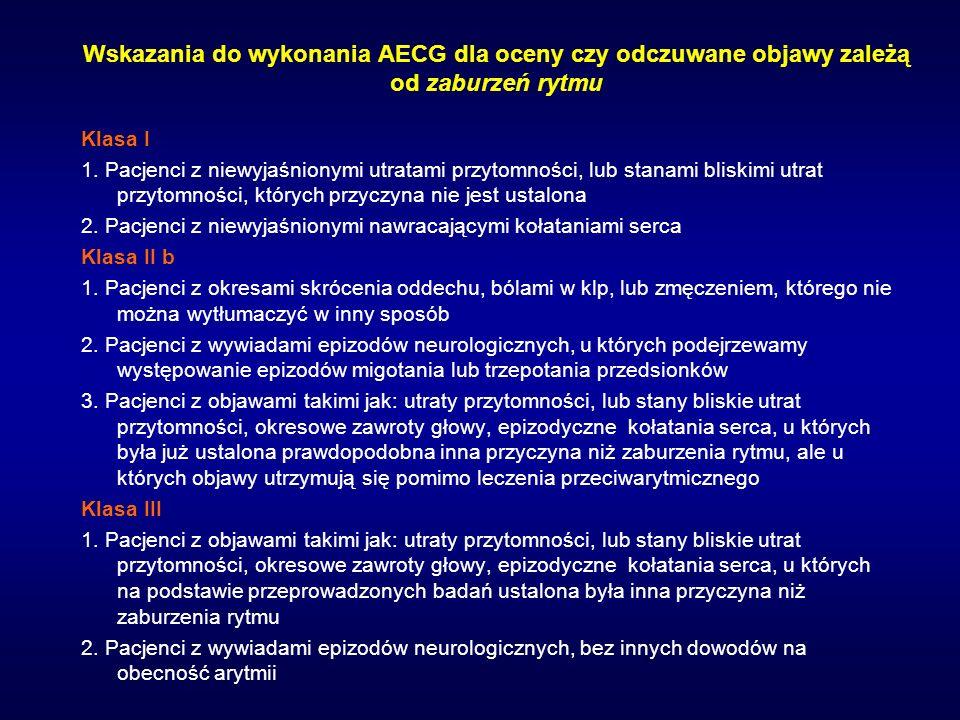 Wskazania do wykonania AECG dla oceny czy odczuwane objawy zależą od zaburzeń rytmu Klasa I 1. Pacjenci z niewyjaśnionymi utratami przytomności, lub s