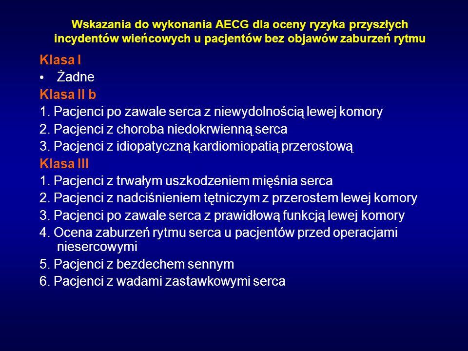 Wskazania do wykonania AECG dla oceny ryzyka przyszłych incydentów wieńcowych u pacjentów bez objawów zaburzeń rytmu Klasa I Żadne Klasa II b 1. Pacje
