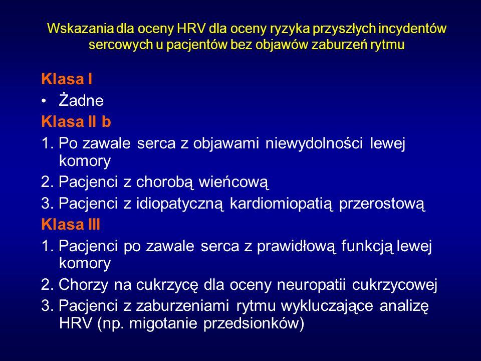 Wskazania dla oceny HRV dla oceny ryzyka przyszłych incydentów sercowych u pacjentów bez objawów zaburzeń rytmu Klasa I Żadne Klasa II b 1. Po zawale