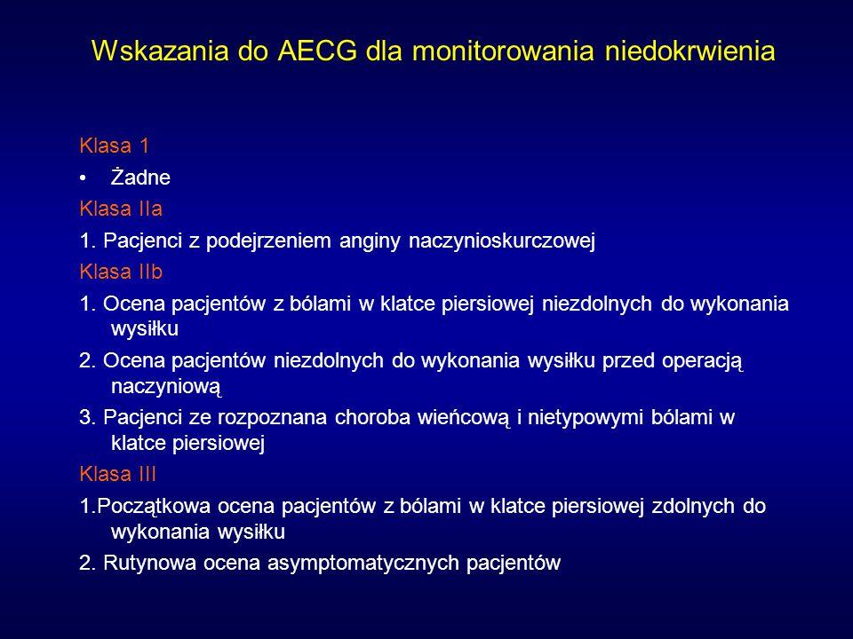 Wskazania do AECG dla monitorowania niedokrwienia Klasa 1 Żadne Klasa IIa 1. Pacjenci z podejrzeniem anginy naczynioskurczowej Klasa IIb 1. Ocena pacj
