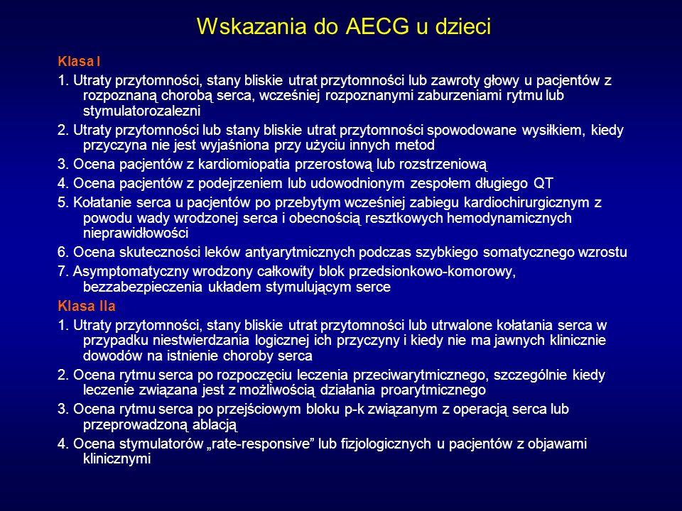 Wskazania do AECG u dzieci Klasa I 1. Utraty przytomności, stany bliskie utrat przytomności lub zawroty głowy u pacjentów z rozpoznaną chorobą serca,