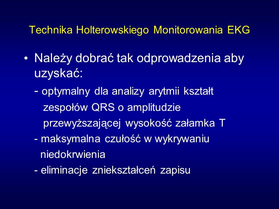 Technika Holterowskiego Monitorowania EKG Należy dobrać tak odprowadzenia aby uzyskać: - optymalny dla analizy arytmii kształt zespołów QRS o amplitud