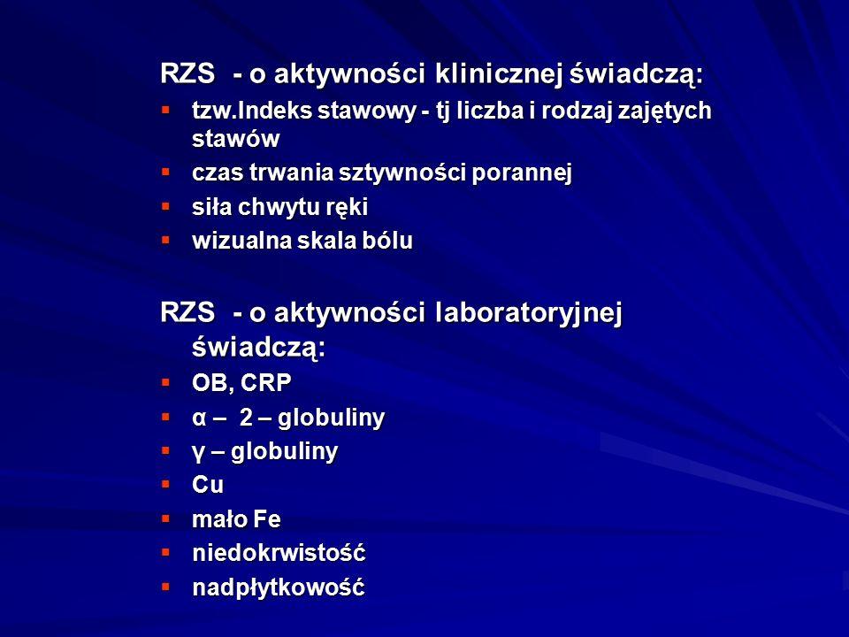 RZS - o aktywności klinicznej świadczą:  tzw.Indeks stawowy - tj liczba i rodzaj zajętych stawów  czas trwania sztywności porannej  siła chwytu ręki  wizualna skala bólu RZS - o aktywności laboratoryjnej świadczą:  OB, CRP  α – 2 – globuliny  γ – globuliny  Cu  mało Fe  niedokrwistość  nadpłytkowość