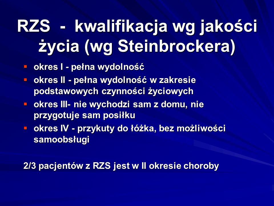 RZS - kwalifikacja wg jakości życia (wg Steinbrockera)  okres I - pełna wydolność  okres II - pełna wydolność w zakresie podstawowych czynności życiowych  okres III- nie wychodzi sam z domu, nie przygotuje sam posiłku  okres IV - przykuty do łóżka, bez możliwości samoobsługi 2/3 pacjentów z RZS jest w II okresie choroby