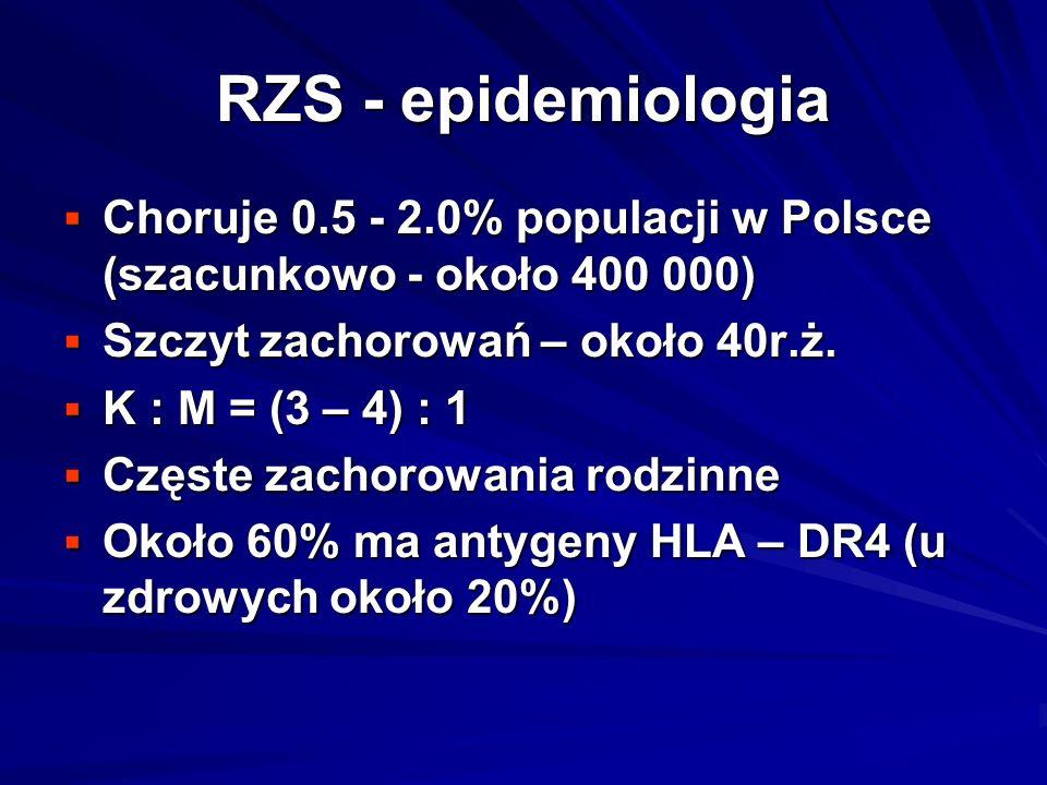 RZS - epidemiologia  Choruje 0.5 - 2.0% populacji w Polsce (szacunkowo - około 400 000)  Szczyt zachorowań – około 40r.ż.