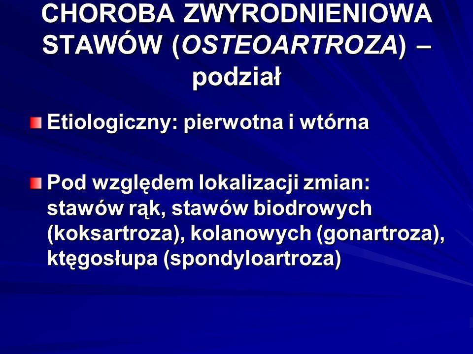 CHOROBA ZWYRODNIENIOWA STAWÓW (OSTEOARTROZA) – podział Etiologiczny: pierwotna i wtórna Pod względem lokalizacji zmian: stawów rąk, stawów biodrowych (koksartroza), kolanowych (gonartroza), ktęgosłupa (spondyloartroza)