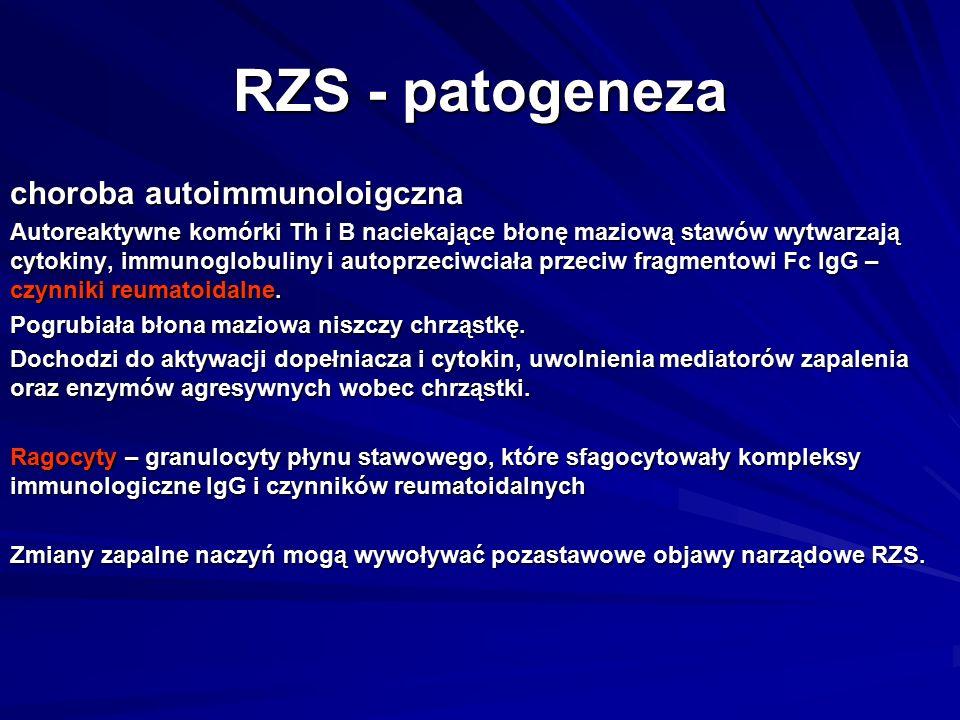 RZS - patogeneza choroba autoimmunoloigczna Autoreaktywne komórki Th i B naciekające błonę maziową stawów wytwarzają cytokiny, immunoglobuliny i autoprzeciwciała przeciw fragmentowi Fc IgG – czynniki reumatoidalne.