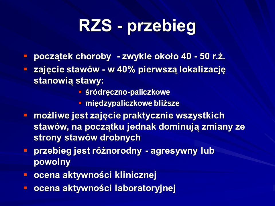 RZS - przebieg  początek choroby - zwykle około 40 - 50 r.ż.