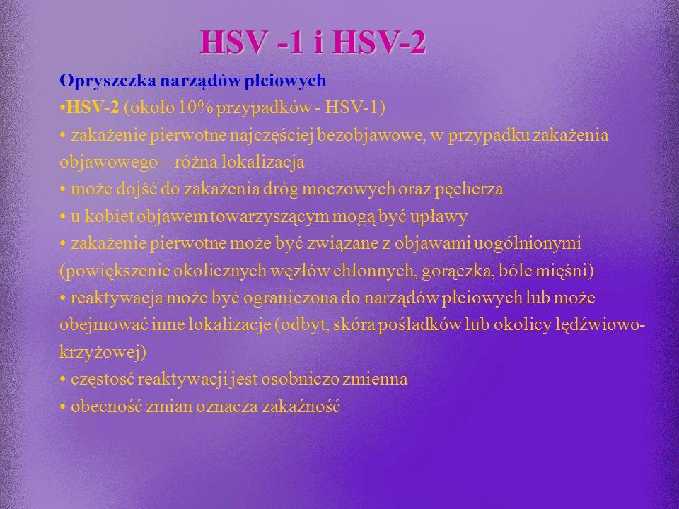 HSV -1 i HSV-2 Herpes gladiatorum obserwowany u zawodników uprawiających sporty kontaktowe (zapasy, wrestling, rugby) Wyprysk opryszczkowy Choroba nie