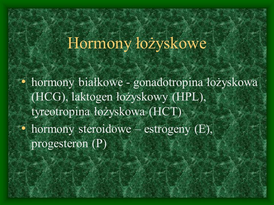 Hormony łożyskowe hormony białkowe - gonadotropina łożyskowa (HCG), laktogen łożyskowy (HPL), tyreotropina łożyskowa (HCT) hormony steroidowe – estrogeny (E), progesteron (P)