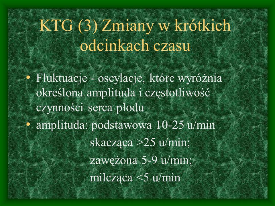 KTG (3) Zmiany w krótkich odcinkach czasu Fluktuacje - oscylacje, które wyróżnia określona amplituda i częstotliwość czynności serca płodu amplituda: podstawowa 10-25 u/min skacząca >25 u/min; zawężona 5-9 u/min; milcząca <5 u/min