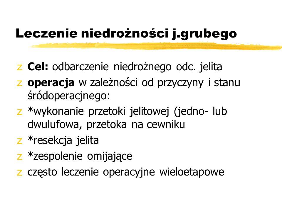 Leczenie niedrożności j.grubego zCel: odbarczenie niedrożnego odc. jelita zoperacja w zależności od przyczyny i stanu śródoperacjnego: z*wykonanie prz