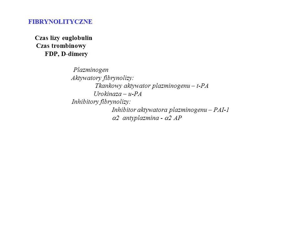 FIBRYNOLITYCZNE FIBRYNOLITYCZNE Czas lizy euglobulin Czas trombinowy FDP, D-dimery Plazminogen Aktywatory fibrynolizy: Tkankowy aktywator plazminogenu – t-PA Urokinaza – u-PA Inhibitory fibrynolizy: Inhibitor aktywatora plazminogenu – PAI-1  2 antyplazmina -  2 AP