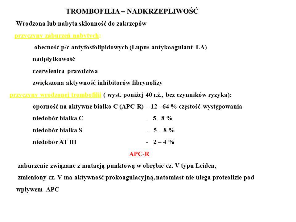 TROMBOFILIA – NADKRZEPLIWOŚĆ Wrodzona lub nabyta skłonność do zakrzepów przyczyny zaburzeń nabytych: obecność p/c antyfosfolipidowych (Lupus antykoagulant- LA) nadpłytkowość czerwienica prawdziwa zwiększona aktywność inhibitorów fibrynolizy przyczyny wrodzonej trombofilii ( wyst.