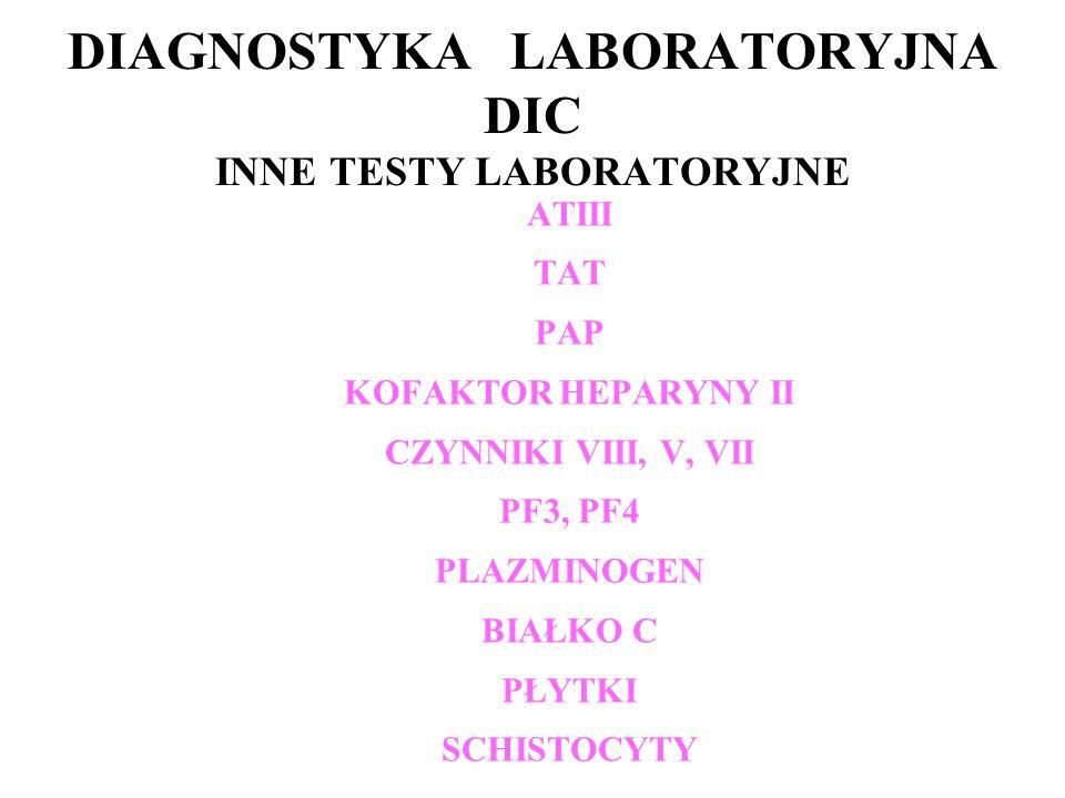 DIAGNOSTYKA LABORATORYJNA DIC INNE TESTY LABORATORYJNE ATIII TAT PAP KOFAKTOR HEPARYNY II CZYNNIKI VIII, V, VII PF3, PF4 PLAZMINOGEN BIAŁKO C PŁYTKI SCHISTOCYTY