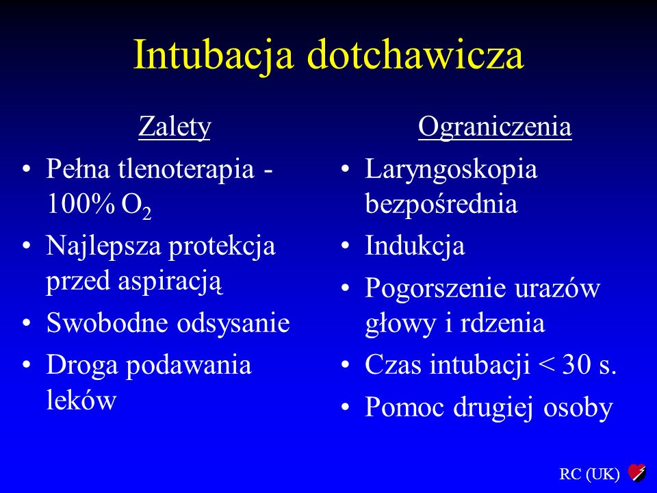 RC (UK) Intubacja dotchawicza Wykonanie: Preoksygenacja (15 - 30 s.) Czas trwania intubacji < 30 s.