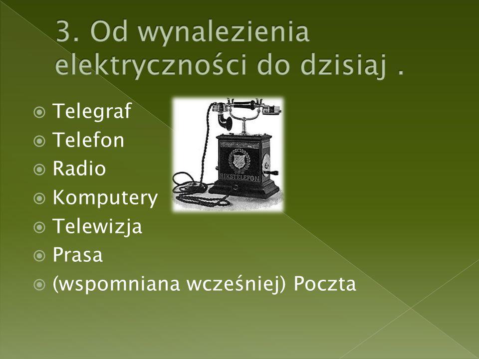  Telegraf  Telefon  Radio  Komputery  Telewizja  Prasa  (wspomniana wcześniej) Poczta
