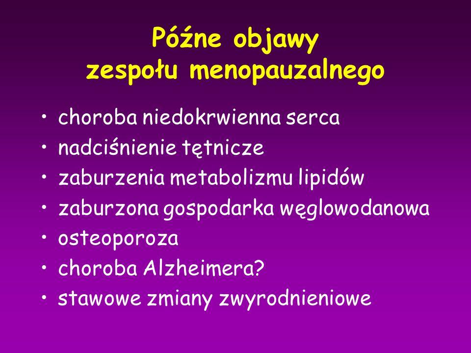 Późne objawy zespołu menopauzalnego choroba niedokrwienna serca nadciśnienie tętnicze zaburzenia metabolizmu lipidów zaburzona gospodarka węglowodanow