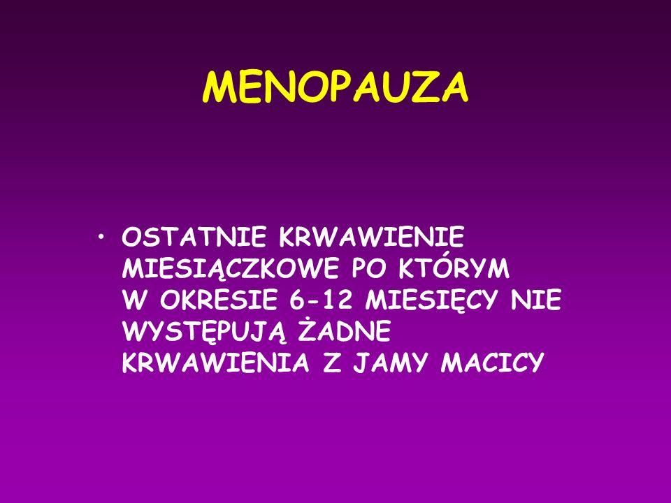 Okres przekwitania Premenopauza - okres kilku- kilkunastu lat przed menopauzą Perimenopauza - okres 2 - 8 lat przed i 1 roku po menopauzie Postmenopauza - okres po roku od ustania miesiączkowania do 65 rż.