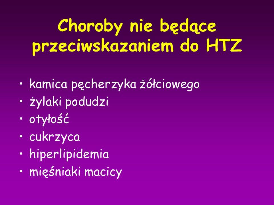 Choroby nie będące przeciwskazaniem do HTZ kamica pęcherzyka żółciowego żylaki podudzi otyłość cukrzyca hiperlipidemia mięśniaki macicy