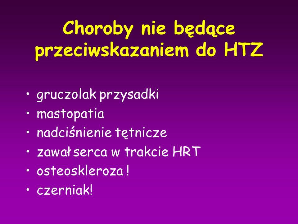 Choroby nie będące przeciwskazaniem do HTZ gruczolak przysadki mastopatia nadciśnienie tętnicze zawał serca w trakcie HRT osteoskleroza ! czerniak!