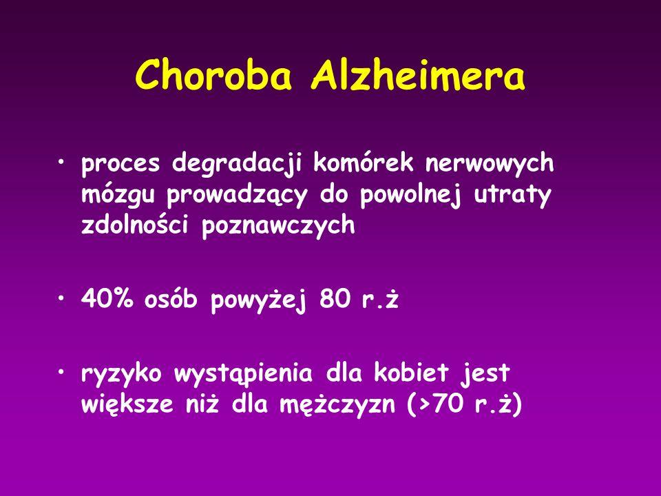 Choroba Alzheimera proces degradacji komórek nerwowych mózgu prowadzący do powolnej utraty zdolności poznawczych 40% osób powyżej 80 r.ż ryzyko wystąp