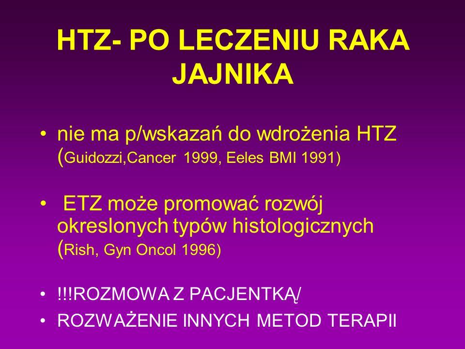 HTZ- PO LECZENIU RAKA JAJNIKA nie ma p/wskazań do wdrożenia HTZ ( Guidozzi,Cancer 1999, Eeles BMI 1991) ETZ może promować rozwój okreslonych typów his