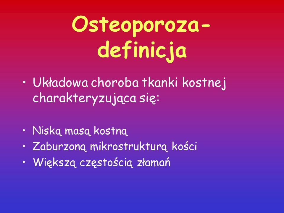 Osteoporoza- definicja Układowa choroba tkanki kostnej charakteryzująca się: Niską masą kostną Zaburzoną mikrostrukturą kości Większą częstością złama