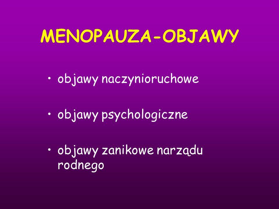 MENOPAUZA-OBJAWY objawy naczynioruchowe objawy psychologiczne objawy zanikowe narządu rodnego