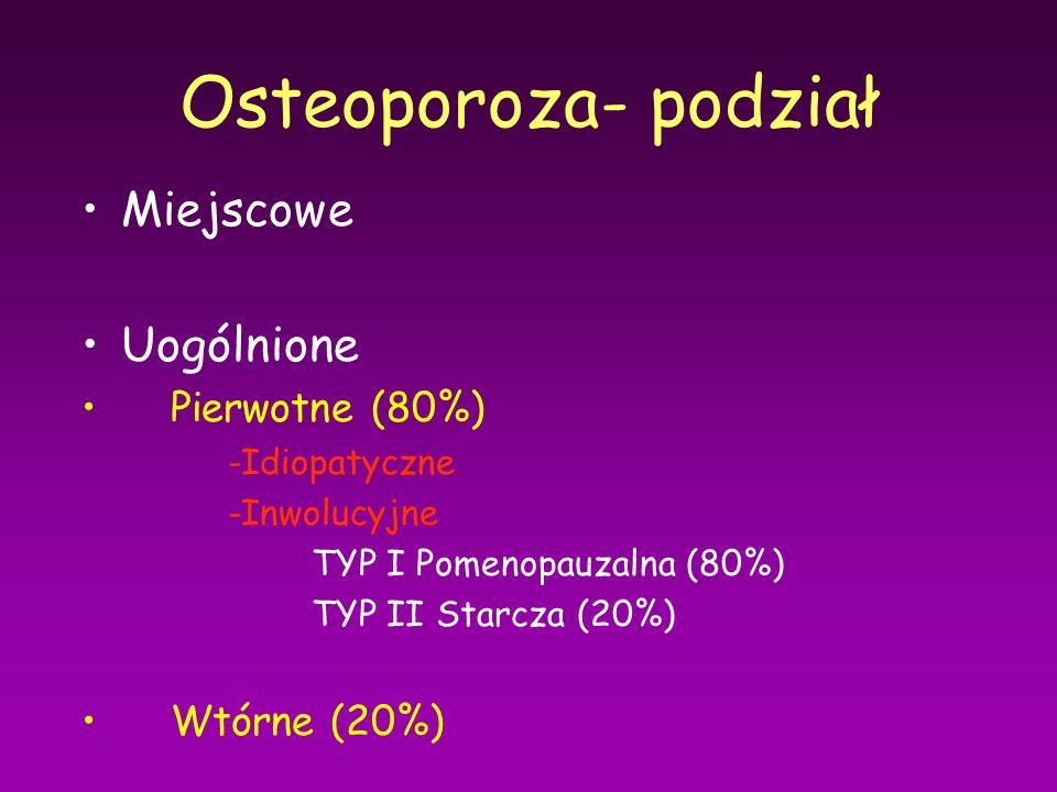 Osteoporoza- podział Miejscowe Uogólnione Pierwotne (80%) -Idiopatyczne -Inwolucyjne TYP I Pomenopauzalna (80%) TYP II Starcza (20%) Wtórne (20%)