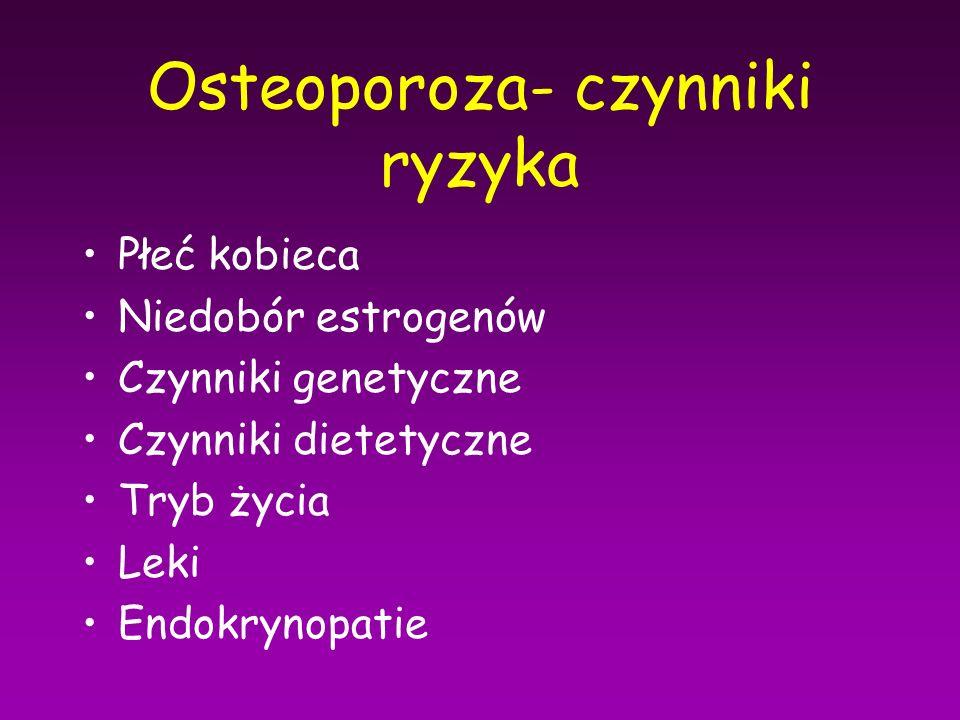 Osteoporoza- czynniki ryzyka Płeć kobieca Niedobór estrogenów Czynniki genetyczne Czynniki dietetyczne Tryb życia Leki Endokrynopatie