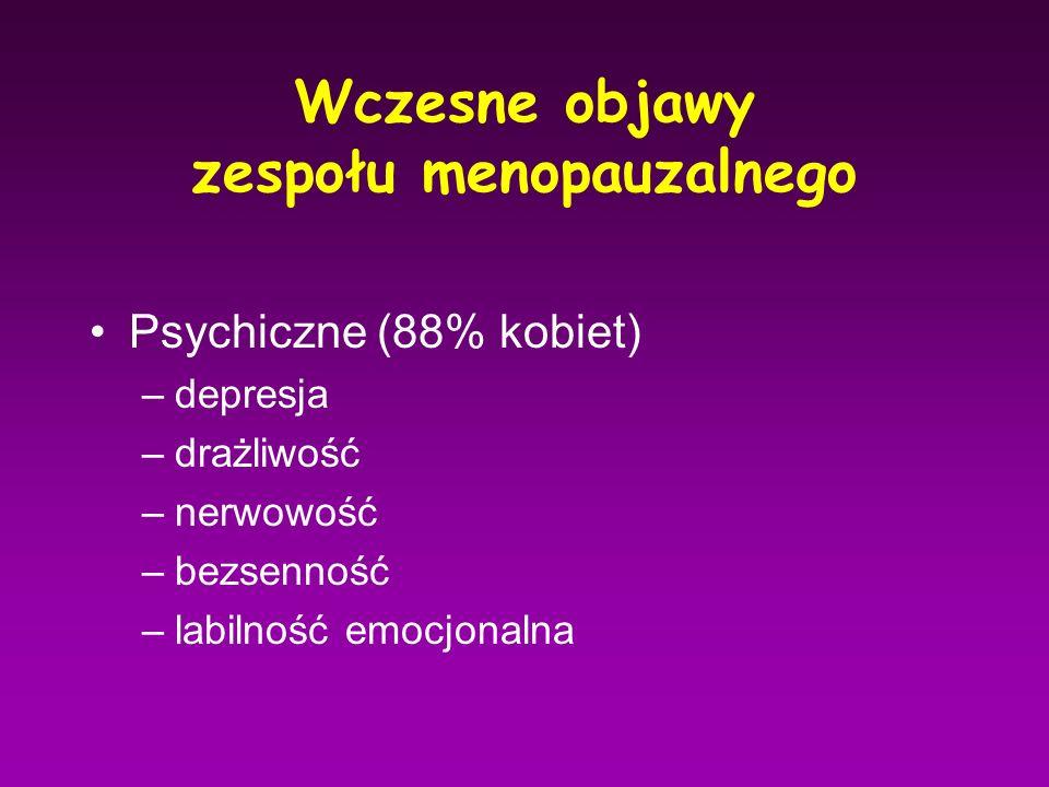 Wczesne objawy zespołu menopauzalnego Psychiczne (88% kobiet) –depresja –drażliwość –nerwowość –bezsenność –labilność emocjonalna